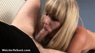 The cutie sucks that cock with sweeping desire until it unloads in her mouth