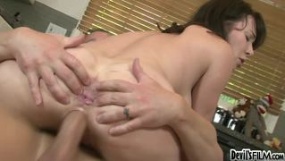 Horny milf sucking and fucking a hard cock in the kitchen