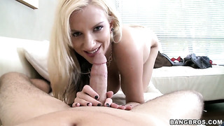 Haley cummings tries her hardest to make man bust a nut after stroke job