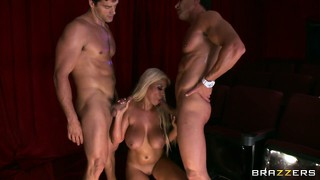 Two muscular machos get this yummy and crazy blonde double penetrated
