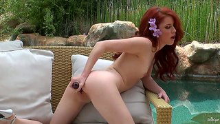 Pale redhead goddess elle alexandra frolics with her pussy early in the morning