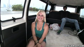 The cash was too much to resist for this brunette cutie and she blows for a bonus on the bang bus