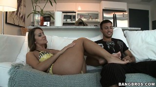 Trina michaels is using her feet as an instrument to pleasure this guy's cock