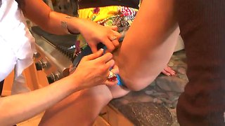 Humiliating wife and her friend in the kitchen.