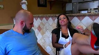 Lovely cutie gabbi vega plays with jmac in the kitchen showing him her round boobs and licking his cock