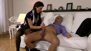Brunete skank giving handjob to old man