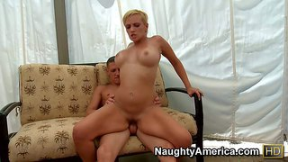 He finds skyla paris in his father's house. she's his dad's new girlfriend. hot woman with big tits and blonde hair turns him on. she gives head and then gets her pussy drilled good and hard.