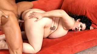 Big boned chick sucking and fucking a hard cock delight.