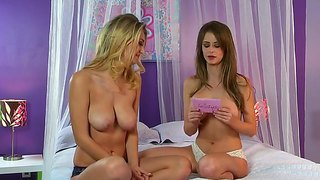 Two naked passionate lesbians emily addison and her new girlfriend talk and start to kiss