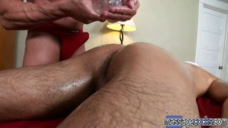 Oily anal therapy on massagecocks