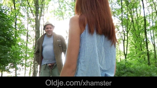 Pervert older bangs masturbating slutty teen in the forest