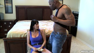 Busty brunette eva gets her a couple of black dudes and sucks one cock