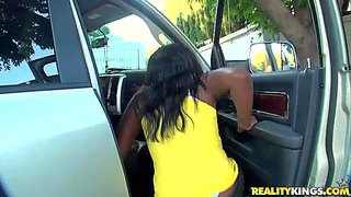 Osa lovely is a nice looking ebony girl with juicy ass. dark skinned hottie strips down to her white underwear outdoors in front of curious white guy. she gets her buttocks slapped.
