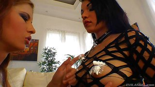 Turned on dark haired nasty sluts tanta and aspid with dark heavy make up and natural tits in provocative lingerie lick each others shaved minges while teasing omar galanti