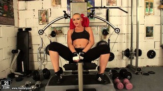 Mistress kathia nobili gets naked in the gym during a workout