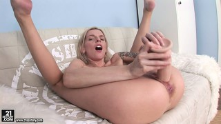 Blonde cutie with tattoos fucks her ass pov style with a dildo