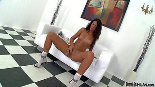 Young brunette alex c with natural tits and shaved snatch shows her tanlines and fucks her hole with fingers. sexy babe with nude body masturbates without taking off her white socks and black shoes.