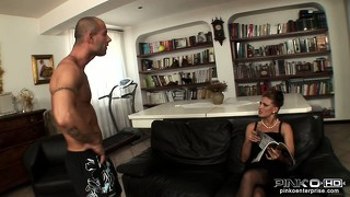 Dazzling blonde with big tits and a hot ass can't resist a young stud with a big dick
