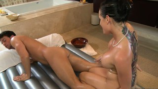 Oiled up bodies in motion and cock sucking before pussy banging