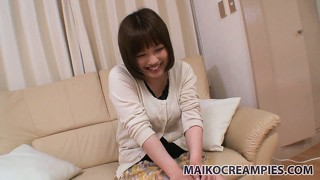 Reiko happily gets undressed and has her nice tits played with