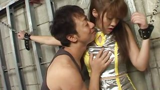 Asian slut is tied with chains