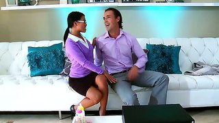 Super sexy asian babe in glasses cindy starfall relaxes her boss after hardworking day