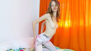 Gloria reveals her pale body and tight shaved kitty
