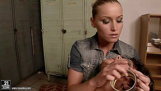Arousing young blonde bitch kathia nobili with smoking hot body in short dress and long black boots dominates over brunette babe melanie memphis in locker room in awesome bondage episode