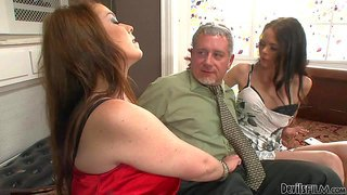 Angelina black and big breasted experienced woman desiree deluca give blowjob to lucky older man with wild desire. he gets his beefy hard dick eaten by two enthusiastic sluts.