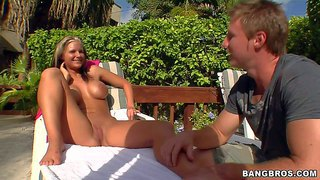 Phoenix marie is a gorgeous perfect bodied milf that shows it all in the sun. she demonstrates her huge fake tits and round ass. then she gets her bald pussy fingered by two curious dudes.