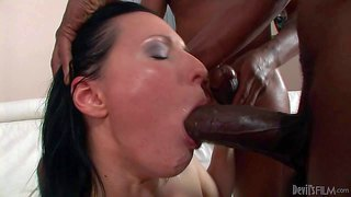 Slim ivory skinned bitch maya b is insatiable when it comes to fucking with big dicked black guys. she sucks long dark cock like crazy and gets her pussy stretched in this interracial action. watch her handle three heavy black dicks.