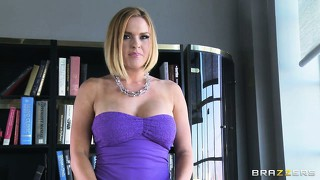 Busty blonde slut goes for an interview and gives him a reason to hire her