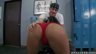 Jenaveve jolie is a sex obsessed boxing champ with big boobs and always wet pussy. smoking hot sporty latina with big tits gives head and gets her trimmed pussy pounded in the locker room.