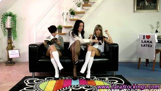 British stocking teens lezzing up
