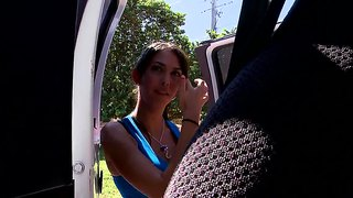 Hot brunette babe karina is taking a ride in the famous bang bus