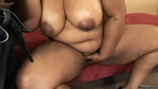 Chubby ebony babe with huge tits and a big round ass wants to have some fun
