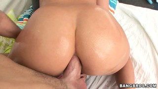 Brunette babe slammed hard by a thick cock in her ass and pussy