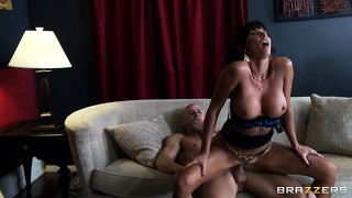 The sweet trimmed coochie of lezley zen gets banged deep by a hard schlong