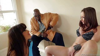 Attractive babe jada stevens opens her legs and gets her neatly trimmed pussy tongue fucked by big racked milf lisa ann. watch hot bodied brunettes tongue fuck each others slit in front of lexington steele.