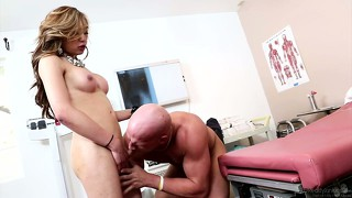 Excited female bends that bald guy down and fucks him in the ass