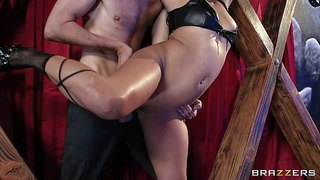 Asian babe lana violet in black boots. she's s slave girl with tied hands in steamy bdsm action. sexy assed exotic babe gets her shaved pussy banged silly by horny well hung dude until she squirts.