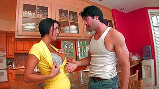 Look at beautiful stunning housewife dylan ryder. this flirtatious brunette chick was waiting for her husbend when her handsome neighbor came to talk and made her feel much better by his toung and cock