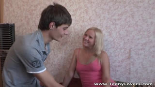 Blonde teeny taking balls deep
