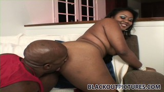 Vanity cruz, a sexy ebony babe with cute tits, slides a big black dick in her mouth
