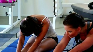 Sport practicing with two mesmerizing brunettes dana vespoli and phoenix marie
