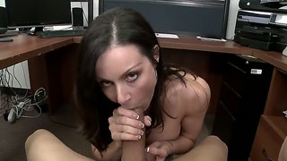 Kendra lust rubbing that dick with her tits and sucking it.