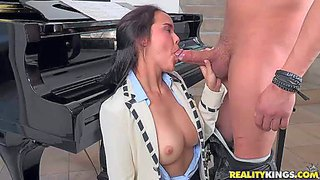 Tender brunette dillon harper is juts 18 and needs sex badly. she has sex fun with her piano teacher. she gives head and then takes his love torpedo in her tight fuck hole from behind.