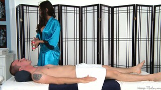 Gorgeous massage therapist takes advantage of her task and her position