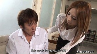 Shiori ayase is a naughty japanese teacher with a degree in cock wanking