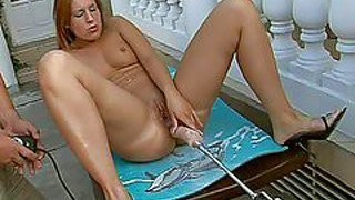 Dirty babe with slim pale body enjoys in playing with her shaved beaver and a sex machine and her boy pisses all over her to fill out her fetish actions